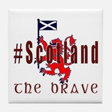 Hashtag Scotland Red Tartan Brave Tile Coaster