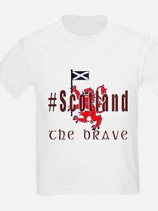 Hashtag Scotland red tartan brave T-Shirt