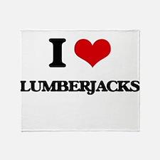 I love Lumberjacks Throw Blanket