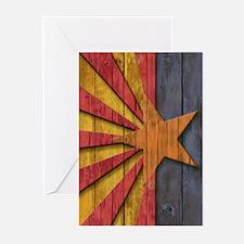Flag of Arizona Vintage Wood Carve Greeting Cards