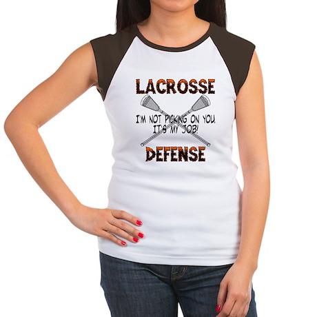 Lacrosse Defense Women's Cap Sleeve T-Shirt