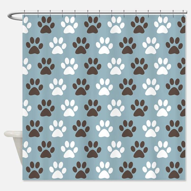 Paw Print Pattern Shower Curtain