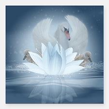 "Swan Song Fantasy Art Square Car Magnet 3"" X"