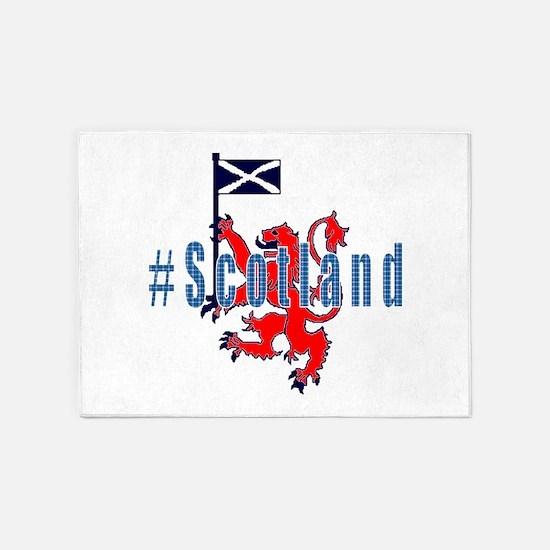 Hashtag Scotland blue tartan 5'x7'Area Rug
