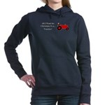 Red Christmas Tractor Women's Hooded Sweatshirt