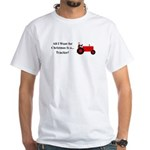 Red Christmas Tractor White T-Shirt