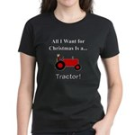 Red Christmas Tractor Women's Dark T-Shirt