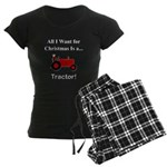 Red Christmas Tractor Women's Dark Pajamas