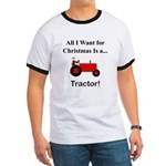 Red Christmas Tractor Ringer T