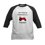 Red Christmas Tractor Kids Baseball Jersey
