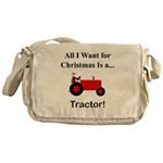 Red Christmas Tractor Messenger Bag