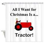 Red Christmas Tractor Shower Curtain