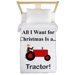 Red Christmas Tractor Twin Duvet