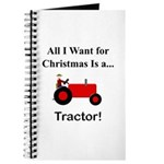 Red Christmas Tractor Journal