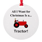 Red Christmas Tractor Round Ornament