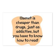 Usenet cheaper than drugs Postcards (Package of 8)
