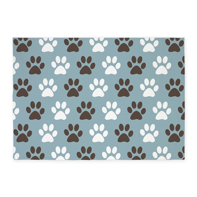 Dog Themed Outdoor Rugs: Paw Print Pattern 5'x7'Area Rug By Oddmatterhome