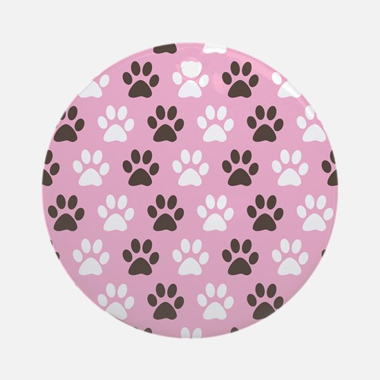Paw Print Pattern Ornament (Round)