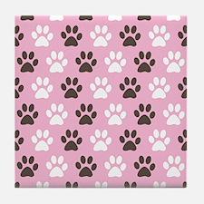 Paw Print Pattern Tile Coaster