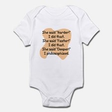 She said harder Infant Bodysuit