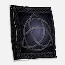 Black Celtic Dragon Burlap Throw Pillow