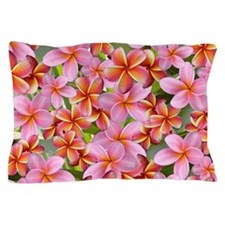 Pink Plumeria Flowers Pillow Case