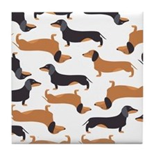 Cute Dachshunds Tile Coaster