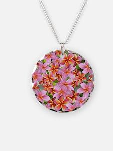 Pink Plumeria Flowers Necklace