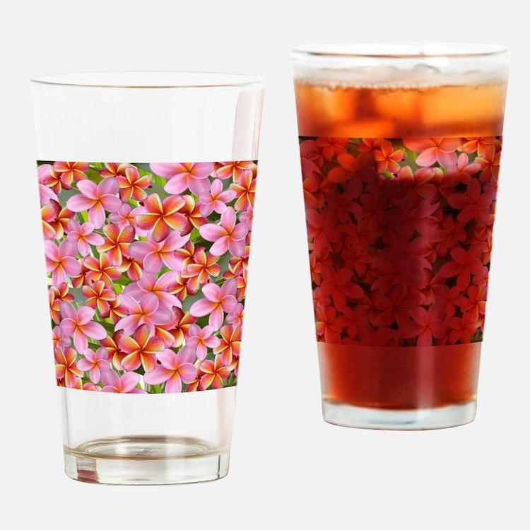 Pink Plumeria Flowers Drinking Glass