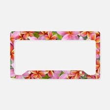 Pink Plumeria Flowers License Plate Holder