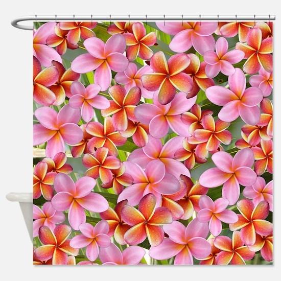 Pink Plumeria Flowers Shower Curtain