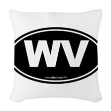 West Virginia WV Euro Oval Woven Throw Pillow