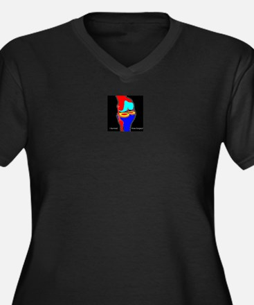 Cool Knee replacement Women's Plus Size V-Neck Dark T-Shirt