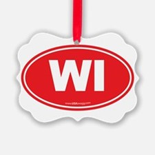 Wisconsin WI Euro Oval Ornament