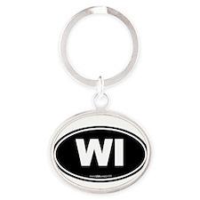 Wisconsin WI Euro Oval Oval Keychain