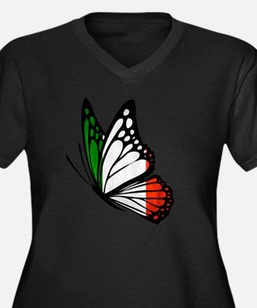 Italian Flag Women's Plus Size V-Neck Dark T-Shirt