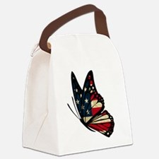 Puerto Rican Flag Butterfly Canvas Lunch Bag