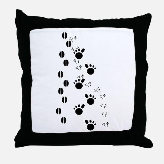Animal Tracks Silhouette Throw Pillow