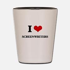 I love Screenwriters Shot Glass