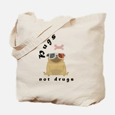 Cute Pugs not drugs Tote Bag