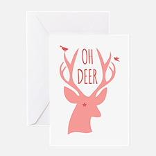 Oh deer, coral Greeting Cards