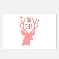 Oh deer, coral Postcards (Package of 8)