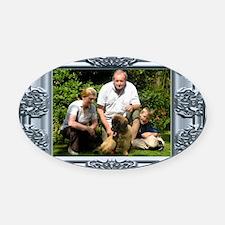Custom silver baroque framed photo Oval Car Magnet