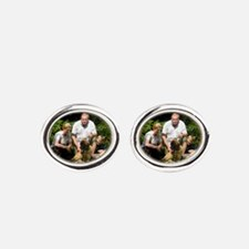 Personalizable Golden Flowers Frame Oval Cufflinks