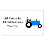Blue Christmas Tractor Sticker (Rectangle 50 pk)