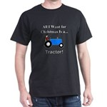 Blue Christmas Tractor Dark T-Shirt