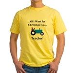 Blue Christmas Tractor Yellow T-Shirt