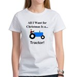 Blue Christmas Tractor Women's T-Shirt