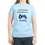 Blue Christmas Tractor Women's Light T-Shirt