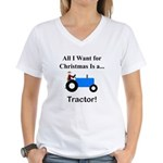 Blue Christmas Tractor Women's V-Neck T-Shirt